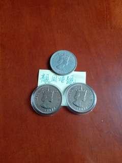 香港:硬幣:1972年:大一元:女皇頭:共兩個