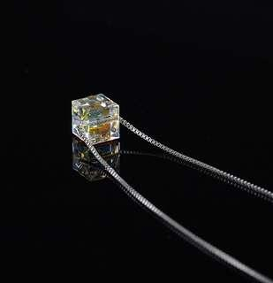 Square Diamond Zircon Necklace Pendant Crystal Necklace