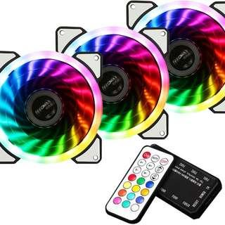 3x RGB fans With hub and remote