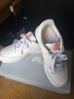 reputable site 3e713 e1af6 NEW Nike Air Force Lows With Orange Polka Dot Design (USED ONCE WITH  RECEIPT)