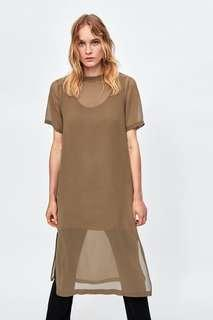 Zara Brown dress with Contrasting ribbed inner