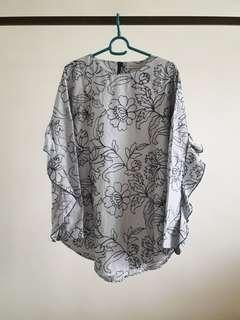 Embroidered Floral Ruffled Blouse