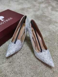 (全新) 新娘婚鞋 外景婚鞋 閃銀底喱士婚鞋
