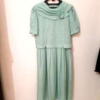 Vintage mint polkadot maxi dress