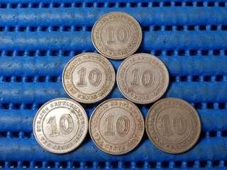 6X 1927 Straits Settlements 10 Cents Silver Coin George V King and Emperor of India