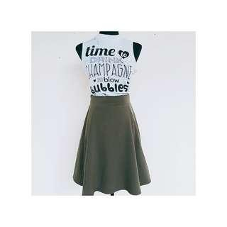 Army Green Midi Skirt branded with lining