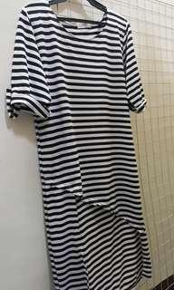 Striped Long Back Blouse