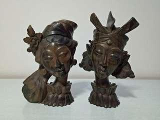 60s Bali Man & Lady Ebony Wood Carving Height 24cm Below Artist Signature Perfect Condition 2pieces $150