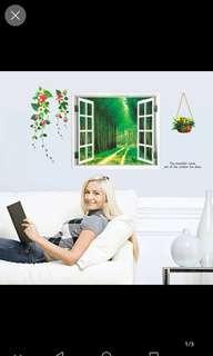 INSTOCK 3 Each $35 Creative room decoration stickers living room 3d fake window background Mediterranean wall stickers warm bedroom self-adhesive wallpaper stickers