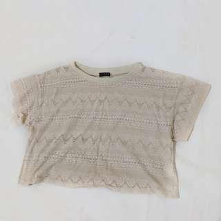 Pale patterned cream crop top