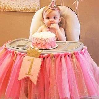 Pink tutu table skirting & Highchair Skirting & Balloon - Birthday Party
