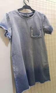 Destroyed Pocket Denim A-Line Dress