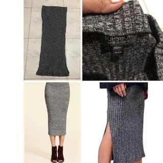 Original Topshop Ribbed knit midi skirt Medium