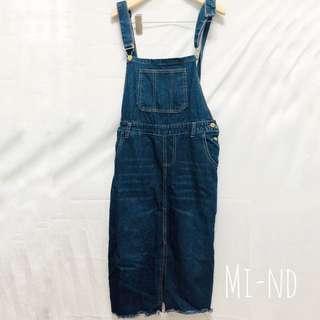 深藍牛仔小開衩窄裙 後鬆緊 36