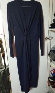Dark blue wrap dress formal