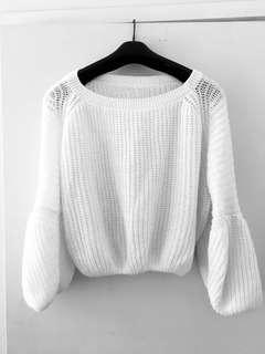 Cream cropped knit jumped
