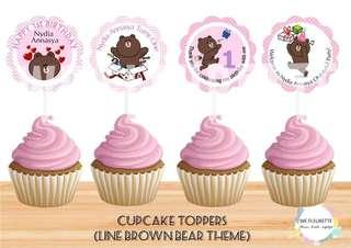 Line Brown Bear Cupcake Toppers