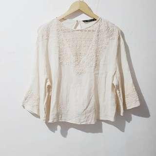 Zara linen embroidered top