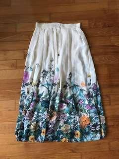 BNWT Maxi Boho Chiffon Floral n Butterflies Print Pleated Skirt S