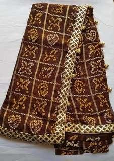Brand New Indian Bandhej Ghat Chola Zari Border Party Wedding Wear Designer Saree