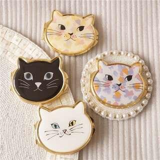可愛貓咪 🎀 隨身鏡 鏡子 貓奴 cat mirror 碎花 粉紅色 日本