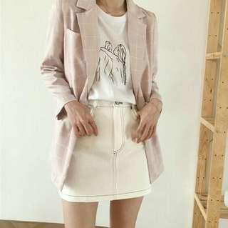 [wts/instock] ulzzang pink checkered blazer