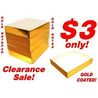 Gold Notepad (500 PAGES GOLD FOIL COATING) *2019 YEAR CLEARANCE SALE, Low Prices less than $4 each!*