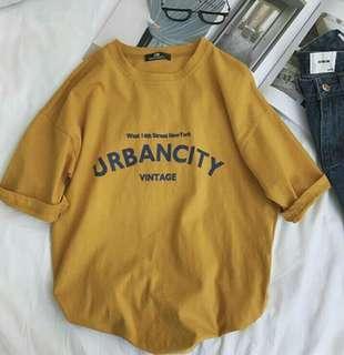 [wts/instock] ulzzang urban city mustard tee