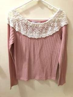 全新 韓國top 韓國衫 韓國長袖衫 粉紅 pink 一字膊 top 膊頭 透視通花 (Made in Korea)