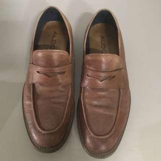ALDO REAL LEATHER tanned brown slip on men loafer casual smart shoes