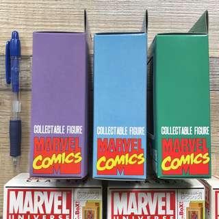 Marvel comics !Box in Box! 仿70年代盒裝 搪膠造型 SUPER HEROES 三款 The Thing 石頭人 Silver Surfer 銀影俠 Doctor Doom 末日博士