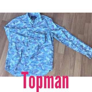 TOPMAN floral sleeve button shirt summer fall office casual