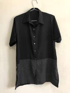Black polka shirt kemeja hitam