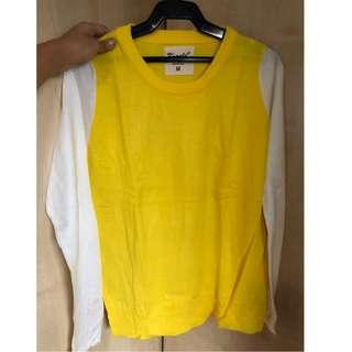 Oasap yellow and white knit top (fits S) P360
