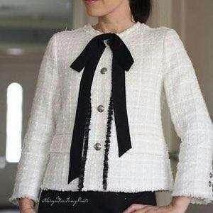 Zara bow tweed jacket blazer 蝴蝶結大褸外套