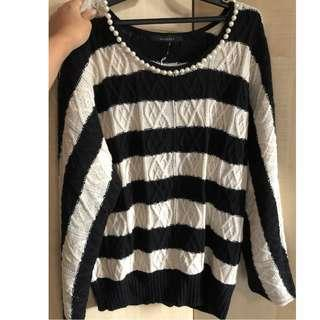 pageboy pearl detail striped sweater from japan (fits S-M)