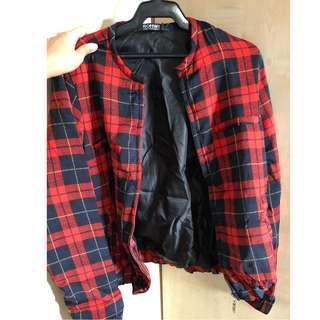 romwe red plaid jacket (fits XS-S)