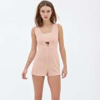 Forever 21 Cut Out Woven Romper (Blush Pink)