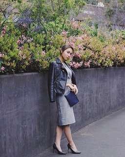 Grey Plaid Midi Dress with Puffy Sleeves