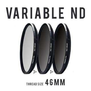 Variable ND filter 46mm (adjustable ND2 to ND400)