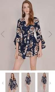Ainsley midnight floral playsuit hvv