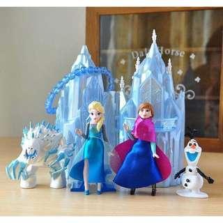 New Disney Frozen cake topper decorations toys figurine princess elsa anna castle