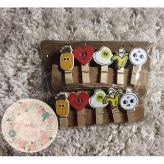 wooden clip/jepitan kayu karakter/buah buahan