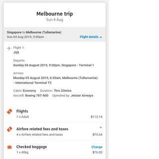Melbourne (MEL) from Singapore(SIN) Jetstar ONE-way: 1 passenger for transfer