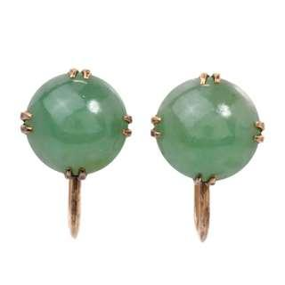 Vintage Jade 14K Yellow Gold Earrings secured with screw backings made for non pierced ears