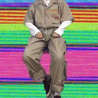 🚚 Dickies連身上衣落肩短袖褲日系工裝褲卡其