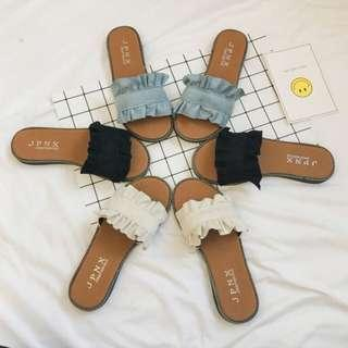 [PO] Basic Ruffled Sliders / Sandals / Slip Ons