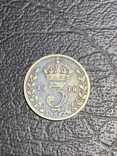 1919年英國3便士9品