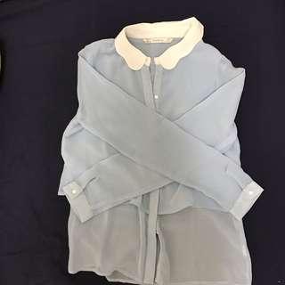🚚 Zara 花瓣領 天藍色透膚襯衫