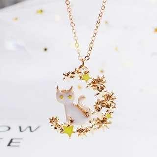 🍁現貨🎃 萬聖祭 ▪️包郵▪️🐈白貓星月金色項鏈 頸鏈 萬聖節 Halloween